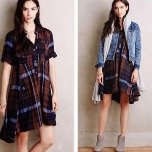 Anthropologie Holding horses plaid shirt dress 2